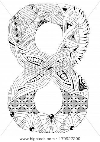 Hand-painted art design. Adult anti-stress coloring page. Black and white hand drawn illustration for coloring book. Number eight zentangle object.