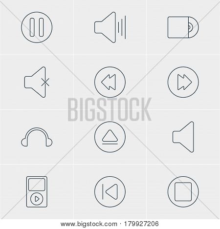 Vector Illustration Of 12 Melody Icons. Editable Pack Of Rewind, Soundless, Earphone And Other Elements.
