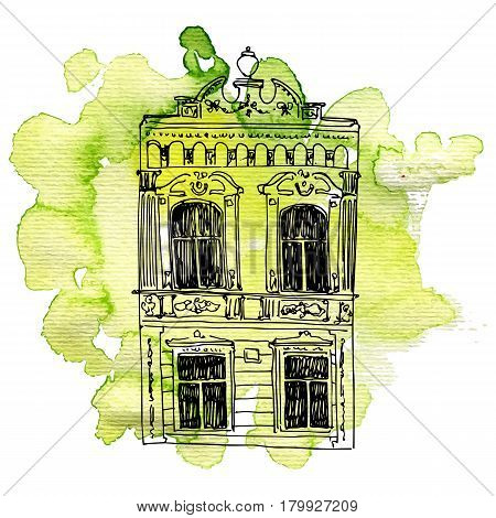 vector house, line drawing mansion at green watercolor background, sketch of building, urban element