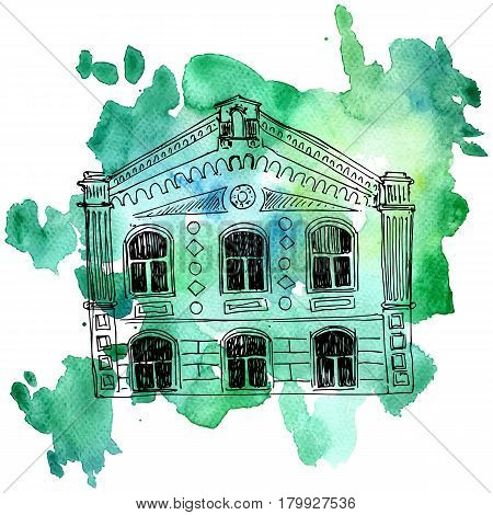 vector house, line drawing mansion at watercolor background, sketch of building, urban element