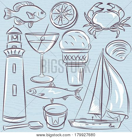Set of summer symbols shells crab boat cocktail lighthouse ice cream bucket fish fruit on a blue grunge background vector illustration.