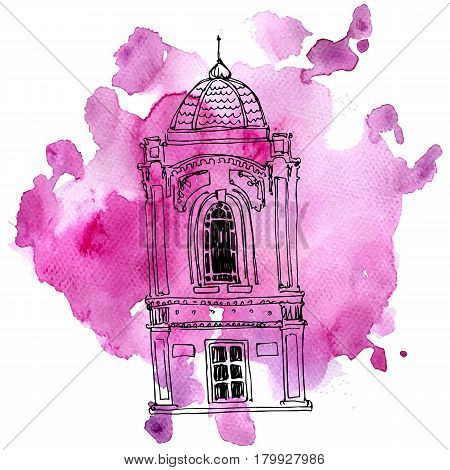 vector house, line drawing mansion at pink watercolor background, sketch of building, urban element