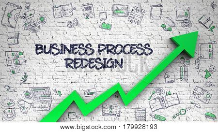 White Brick Wall with Business Process Redesign Inscription and Green Arrow. 3d.