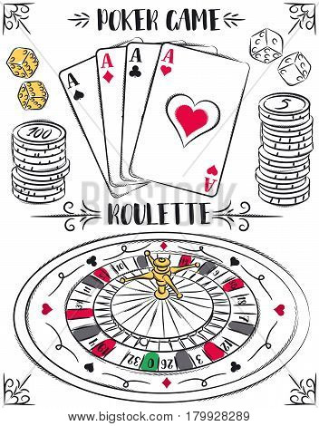 Set of gambling symbols roulette ace dice chips vector illustration. Suitable for casino gambling and sites on the same topic.