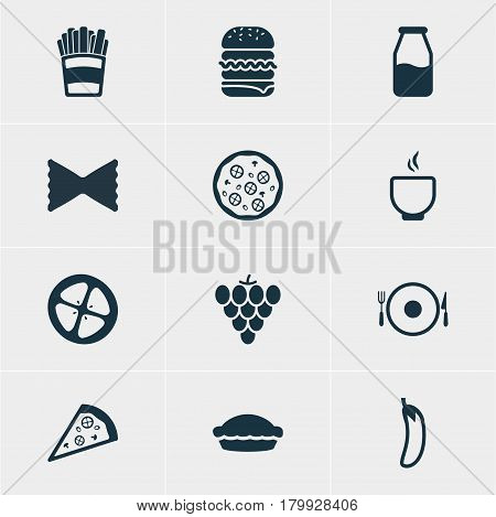 Vector Illustration Of 12 Eating Icons. Editable Pack Of Sandwich, Cruet, Pizzeria Elements.