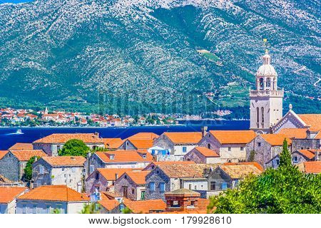 Aerial view on Korcula town with Orebic place on peninsula Peljesac, Southern Croatia, Europe.