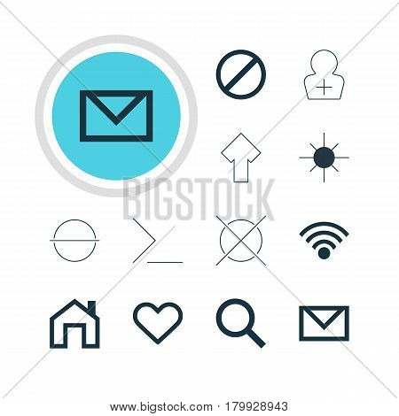 Vector Illustration Of 12 Interface Icons. Editable Pack Of Cancel, Emotion, Mainpage And Other Elements.
