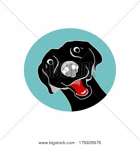Black dog head of a dog the emblem on a white background vector illustration