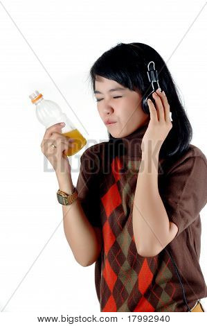 Asian Young Woman Enjoy With Her Sof Drink