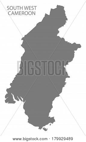 South West Cameroon Province Map Grey Illustration Silhouette