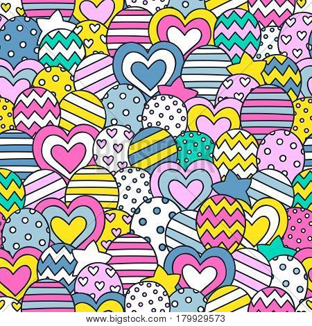 Party time! Vector seamless pattern with hand drawn balloons. Doodle elements - stars dots hearts balloons. Festive background for birthday party. Yellow pink gray green white colors.
