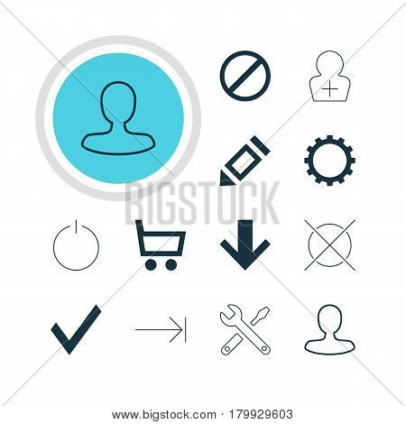 Vector Illustration Of 12 Interface Icons. Editable Pack Of Register Account, Cancel, Cogwheel And Other Elements.