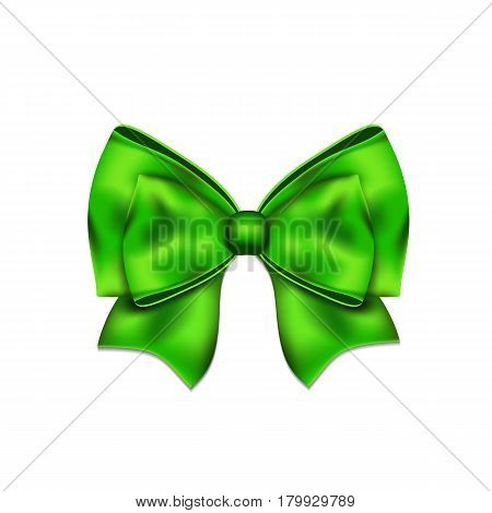 Freen silky bow on a white background. Vector illustration.