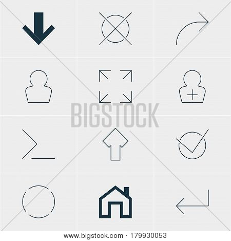 Vector Illustration Of 12 User Icons. Editable Pack Of Share, Register Account, Mainpage And Other Elements.