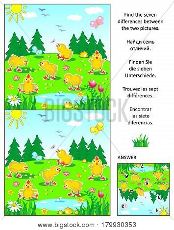 Spring, Easter or summer visual puzzle: Find the seven differences between the two pictures with happy playful chicks feeding outdoor. Answer included.