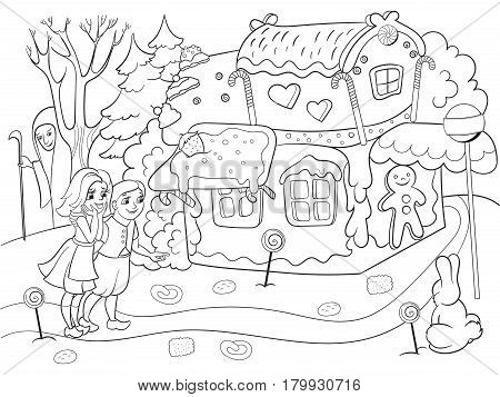 Childlike coloring vector story scene with pair of children eating some sweets near colorful cottage in deep forest. Zentangle style. Black and white line