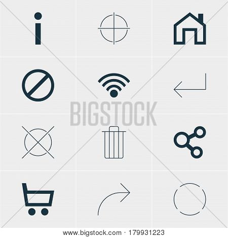 Vector Illustration Of 12 Member Icons. Editable Pack Of Mainpage, Share, Wheelbarrow And Other Elements.