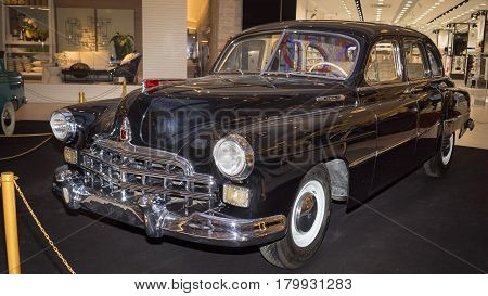 Moscow, Russia - April 02, 2017:gaz-12 Zim, Soviet Union, 1953. Retro Car Exibition In Shopping Mall