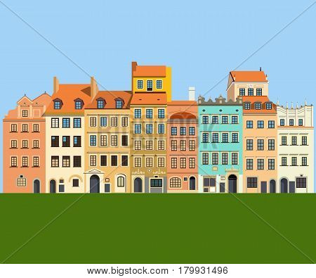 Multi-colored historic houses on the market square of the Old Town. Warsaw Poland. Vector illustration EPS10