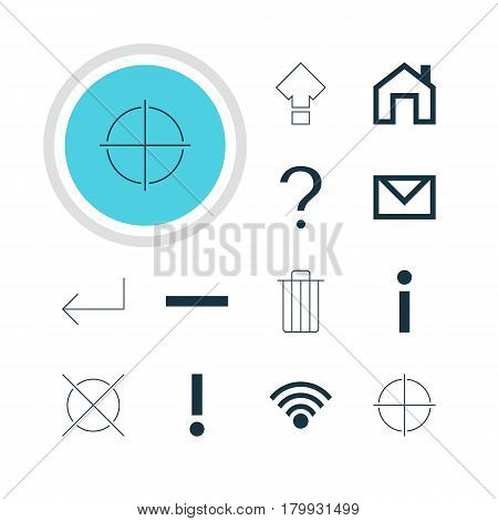 Vector Illustration Of 12 Interface Icons. Editable Pack Of Garbage, Positive, Cancel And Other Elements.