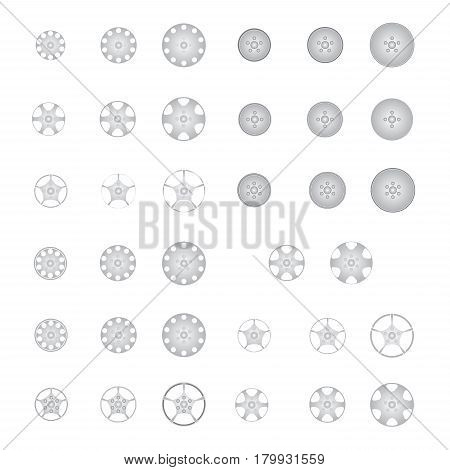 set of alloy wheel vector  isolated on white
