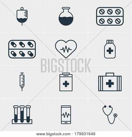 Vector Illustration Of 12 Medical Icons. Editable Pack Of Experiment Flask, Antibody, Phone Monitor And Other Elements.
