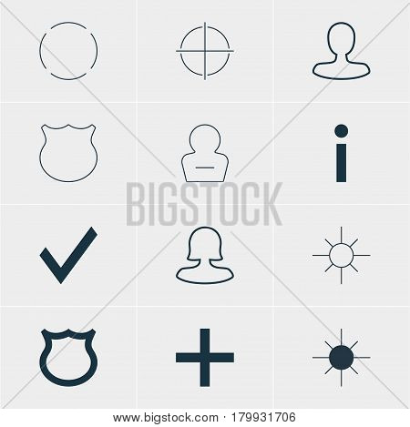 Vector Illustration Of 12 Member Icons. Editable Pack Of Sunshine, Positive, Info And Other Elements.