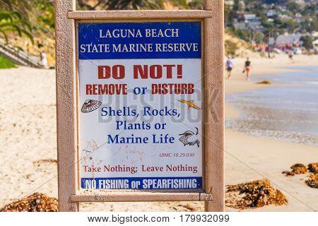 Laguna Beach CA USA - November 03 2016: State Marine Reserve warning sign