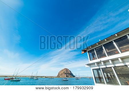 Morro Bay shoreline under a clear sky in California