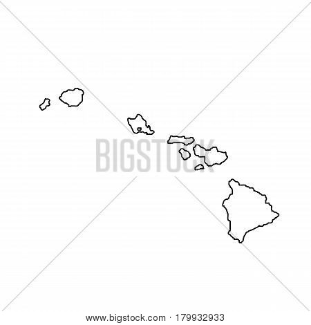 map of the U.S. state Hawaii. Vector illustration