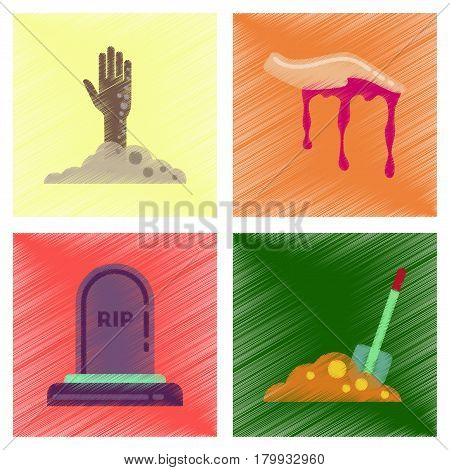 assembly flat shading style icons of halloween zombie hand grave Plot shovel