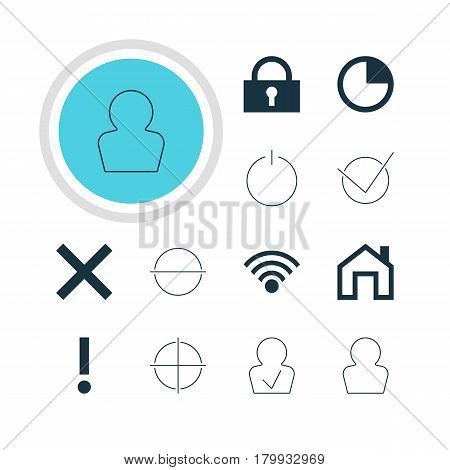 Vector Illustration Of 12 User Icons. Editable Pack Of Wrong, Cordless Connection, Mainpage And Other Elements.