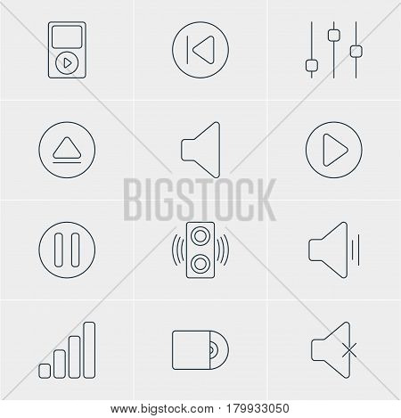 Vector Illustration Of 12 Melody Icons. Editable Pack Of Preceding, Audio, Acoustic And Other Elements.