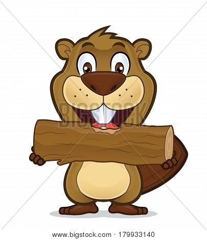 Clipart picture of a beaver cartoon character eating wood