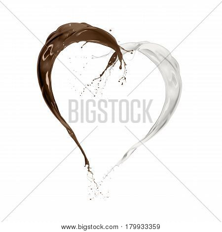 milk and chocolate wave splashing heart shape isolated on white