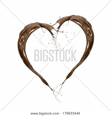 liquid splash chocolate heart shape isolated on white