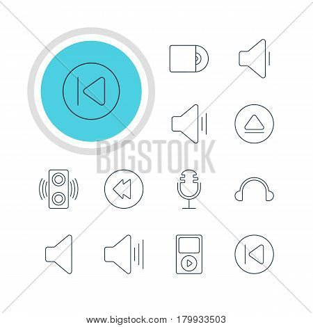 Vector Illustration Of 12 Melody Icons. Editable Pack Of Rewind, Mike, Audio And Other Elements.
