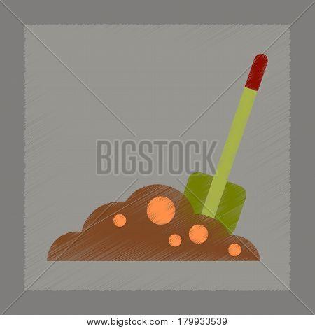 flat shading style icons of halloween Plot shovel