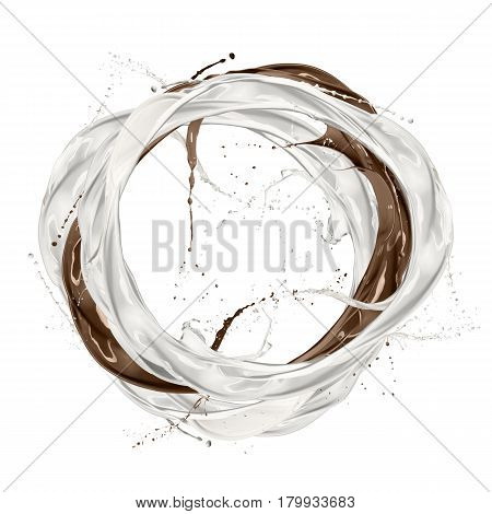 milk and chocolate ring wave splashing isolated on white