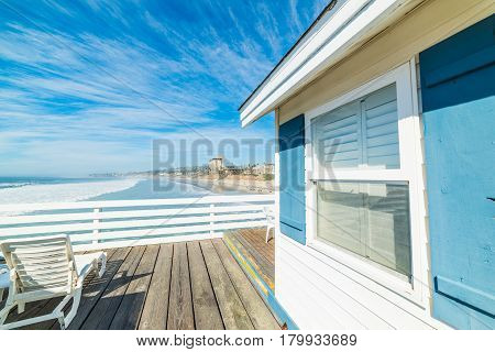wooden beach house in San Diego California