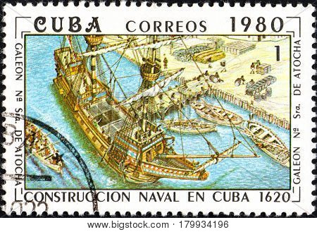 UKRAINE - CIRCA 2017: A postage stamp printed in Cuba shows construction of the Cuban galleon Nuestra Senora de Atocha Our lady of Atocha from series Constructing of ships on Cuba circa 1980