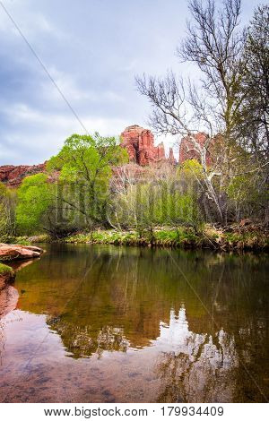 Cathedral Rock Reflections in the Water @ Sedona, Arizona