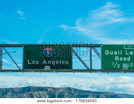 Los Angeles sign in Interstate 5 southbound California