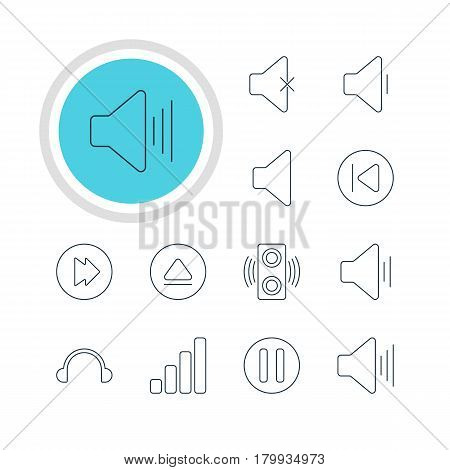 Vector Illustration Of 12 Melody Icons. Editable Pack Of Lag, Volume Up, Soundless And Other Elements.