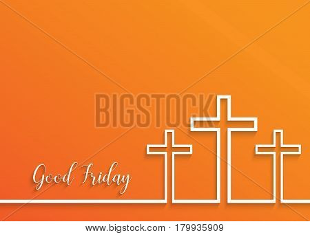 Illustration of Cross for Good Friday on orange background.vector EPS10.