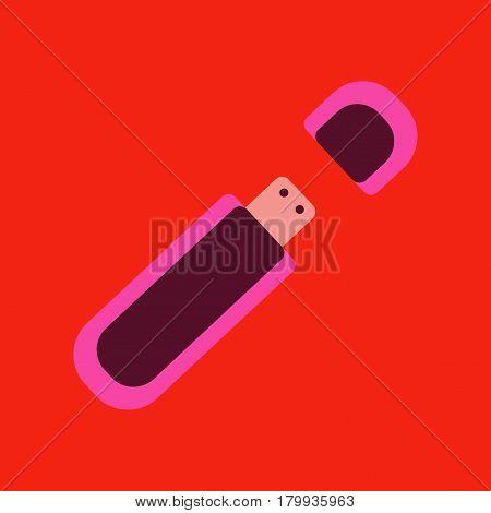 flat icon on stylish background flash drive