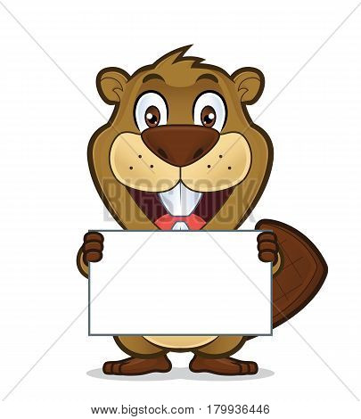 Clipart picture of a beaver cartoon character holding a blank sign