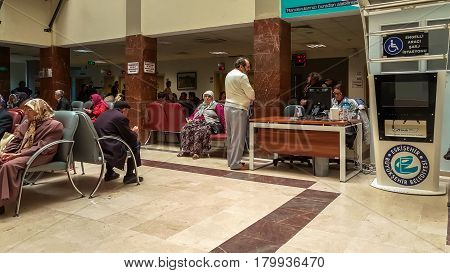 Eskisehir, Turkey - March 28, 2017: People Waiting For A Doctor