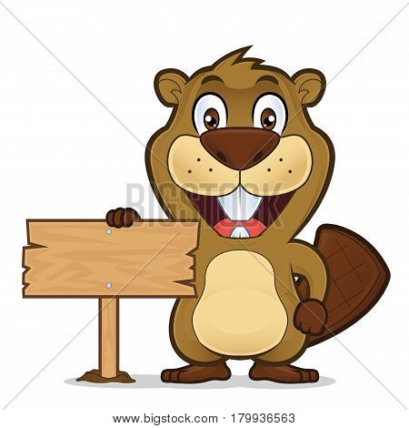 Clipart picture of a beaver cartoon character holding a wooden sign