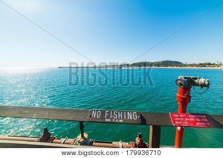 No Fishing sign in Santa Barbara pier California